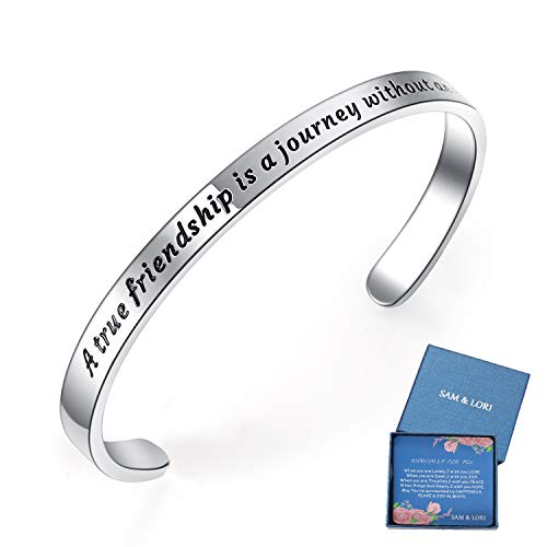 BESTTERN Inspirational Bracelet Cuff Bangle Mantra Quote Keep Going Stainless Steel (A True Friendship is a Journey Without an end)
