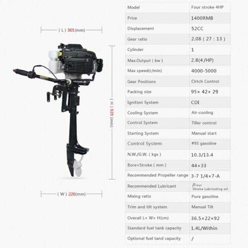 YiWon 4-stroke 4HP outboard engine four-stroke petrol engine boat engine outboard with air cooling system outboard motor motor boat motor rear motor 52 cc 2.8 kW sailing boat engine air cooling