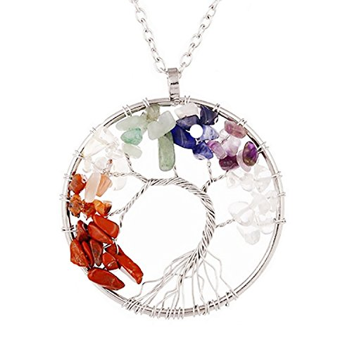 Tree of Life Pendant Necklace Gemstone Chakra Jewelry for Mothers Day Gifts (Silver Round) (Silver Mens Fashion)