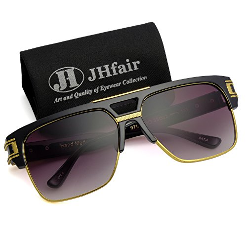 JHfair Designer Square Aviator Large Fashion Retro Sunglasses For Men Flat Top Frame (Mens Designer Fashion)