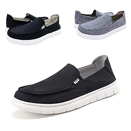 42534f2757973 Boat Shoes Men Deck-Canvas-Loafers-Slipon-for Mens Casual Walking Vintage  Flat Comfort Shoe