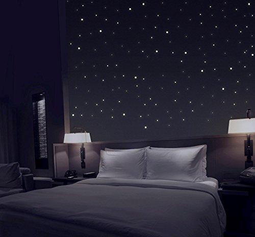 TALINU Sternenhimmel aus 277 selbstklebenden Leuchtpunkten mit extra starker Leuchtkraft und langer Leuchtzeit / Leuchtsterne, Leuchtaufkleber, fluoreszierende Wandsticker, Reflektor I 2 Jahre Zufriedenheitsgarantie