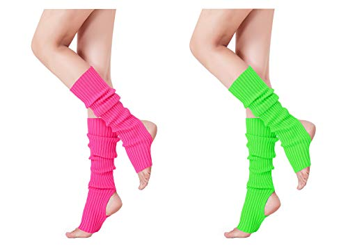 V28 Women Girls Neon Pink Stirrup Ribbed for 80s Party Yoga Leg Warmers (Hole Rose+Green) -