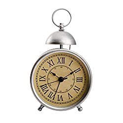 Mechanical Alarm Clock Wind-Up Alarm Clock Metal Desktop Clock - Retro Roman Numerals Style - Home Decoration Bedroom Bedside Table Office - Ideal Business Gift (Silver)