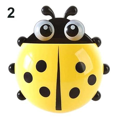 jhtecu Ladybug - Soporte para cepillos de Dientes con Ventosa para Pared, diseño de Mariquitas: Amazon.es: Hogar