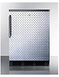 Summit FF7LBLBIDPL Refrigerator, Silver With Diamond Plate