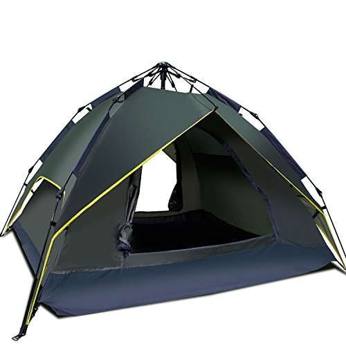 Argus Le Automatic Camping Tent 2 3 Person 3 Season Waterproof Backpacking Tent With Sun Shelter Instant Setup Family Tents With Portable Carry Bag For Camping  Backpacking  Beach  Hiking Army Green