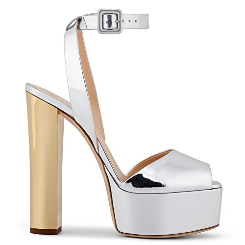 Chunky Party Ladies Toe Sexy Dress Peep Ankle Nightclub Sandals Strap High Shoes Women's Platform Heel Silver Black wYOXw