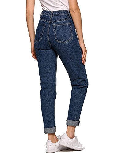 a8f7cb4d726e Women's High Waist Mom Jeans,Boyfriend Straight-Leg Denim Pants Dark Blue