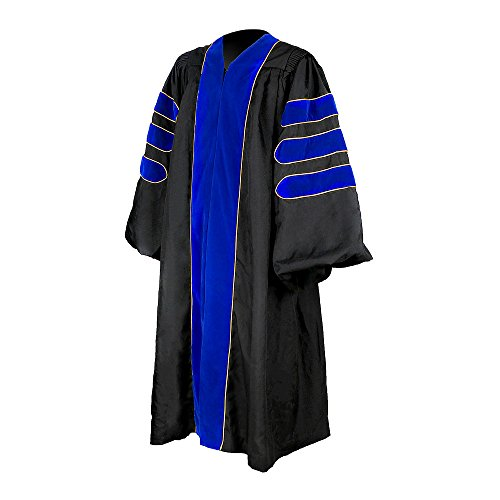 YesGraduation Doctoral Gown, Matte Polyester - Blue Velvet Trim - Gold Piping (54(5'9''-5'11'')) by YesGraduation