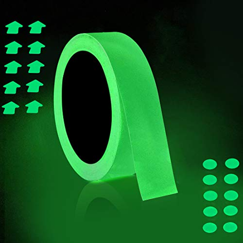 (30 ft x 1 inch Glow in The Dark Tape - Luminescent Emergency Roll/Luminous Photoluminescent Safety Egress Markers Stairs, Walls, Steps, exit Sign.)