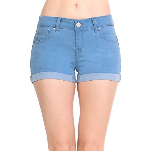 Wax Women's Juniors Mid-Rise Denim Shorts (Small, Light ()
