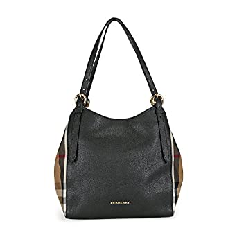 3ea54c965af9 Amazon.com  Burberry Womens Canterbury Leather House Check Tote Handbag  Black Small  Clothing
