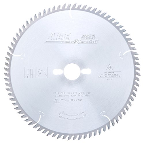 Disco Sierra AMANA Corte transversal 10 x 80T Atb 30mm eje