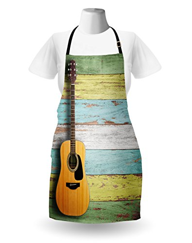 Ambesonne Music Apron, Acoustic Guitar on Colorful Painted Aged Wooden Planks Rustic Country Design Print, Unisex Kitchen Bib Apron with Adjustable Neck for Cooking Baking Gardening, Multicolor by Ambesonne (Image #1)'