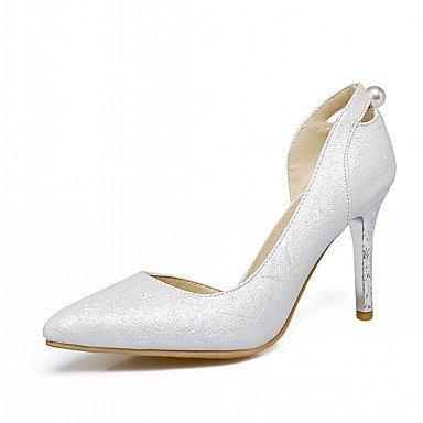 RUGAI-UE Moda de verano mujer sandalias casuales zapatos de tacones PU confort pasear al aire libre,Plata,US7.5 / UE38 / UK5.5 / CN38 Silver