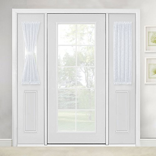 Linen Textured French Door Curtain - White Sidelight Sheer Curtain for Front Door with Tieback by NICETOWN, 30