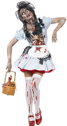 Ladies Zombie Dorothy Fairy Tale Latex Dead Corpse Halloween Fancy Dress Costume (UK 8-10) ()