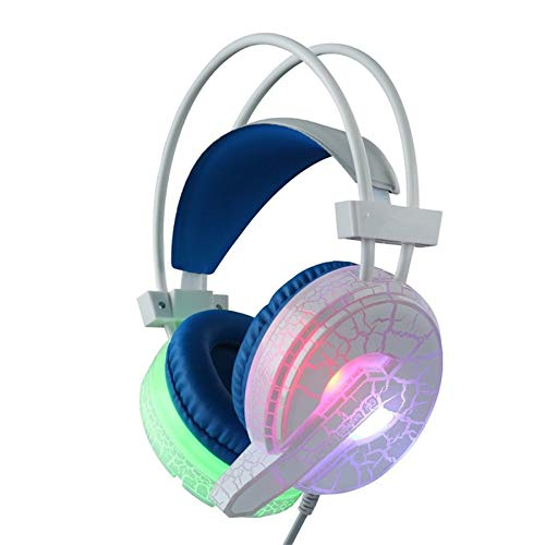 Gaming Headset Headphones H6 Cracked Pattern Video Game Headset Super Bass with Mic LED Light for PC for Phone (Best Cracked Games Pc)