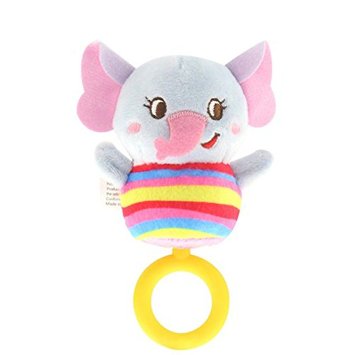 Plush Baby Soft Rattles Developmental Toy with Hand Grip Natural Cotton Teether and Shaker Cute Stuffed Animals with Sounds for 0-24 Month Newborn Infant Washable