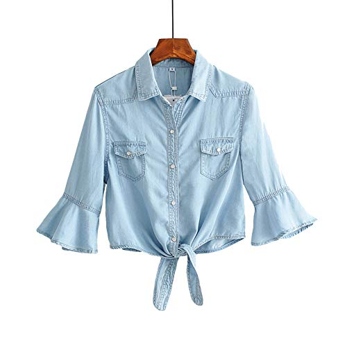Denim Nylon Coat - 2019 Summer Denim Shawl Short Coat Knotted Sunscreen Shirt Trumpet Sleeve Light Blue XL