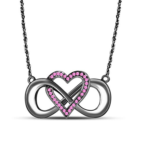 Gems and Jewels 14k Black Gold Plated Alloy 0.15 Ct Pink Sapphire Infinity Heart Necklace Pendant