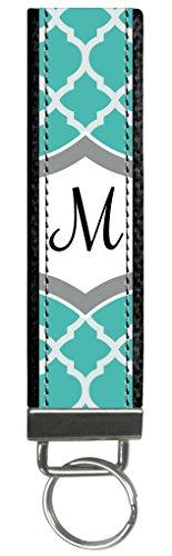 Snaptotes Teal Moroccan Design Monogram Wristlet Keyfob Keychain,Letter M