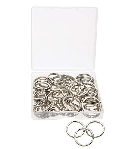 (Shapenty 20mm/0.75 Inch Small Silver Flat Metal Keychain Part Accessories Mini Split Keyring Key Ring Chain Clip Holder, 50PCS (Silver))