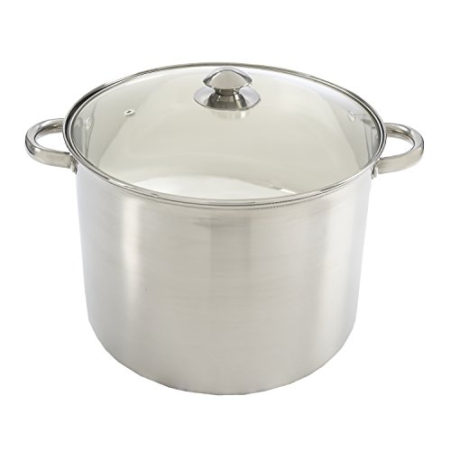 Ecolution Pure Intentions Stock Pot - Features Tempered Glass Lid, Keep Cool Handle, and Encapsulated Bottom - Oven Safe - Curbside Recyclable Stainless Steel - 16 - Bottom Encapsulated