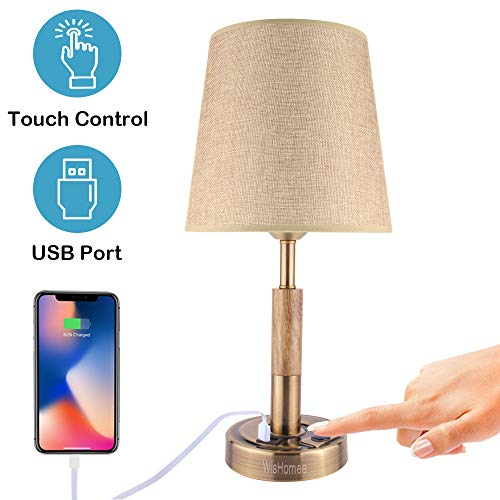 WisHomee Bedside Lamp with USB Port, Touch Table Lamp, Bronze Nightstand Desk Lamp with Fabric Shade and Metal Base, Perfect for Bedroom, Living Room, Hotel and Office (Bulb - Table Lights Lamps Night Bronze