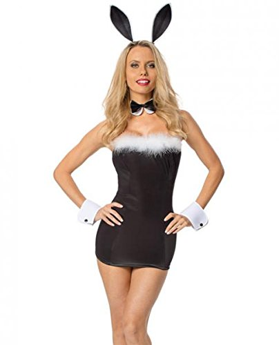 Playboy Costumes - Escante Women's Bedroom Born To Serve Bunny Dress, Black, One Size