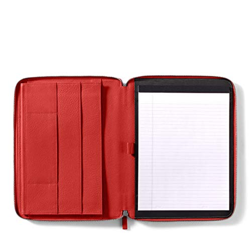 - Leatherology Executive Zippered Portfolio with Interior iPad Pocket - Full Grain Leather Leather - Scarlet (red)