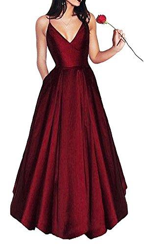LovelyGirl Women's Elegant V Neck Prom Dresses 2018 Long Spaghetti Straps Satin Evening Party Dress With Pockets JA047 US16 (Red Satin Strapless Dress)