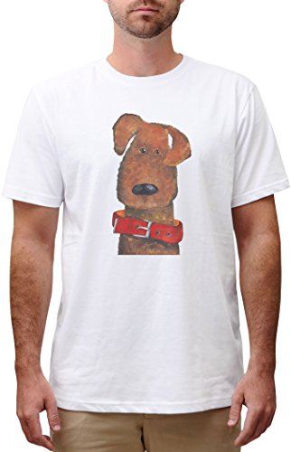 Dog In Red Dog Collar Print Cotton Short Sleeves Round neck Men T-shirt MTS_00 (Print Cotton Dog Collar)