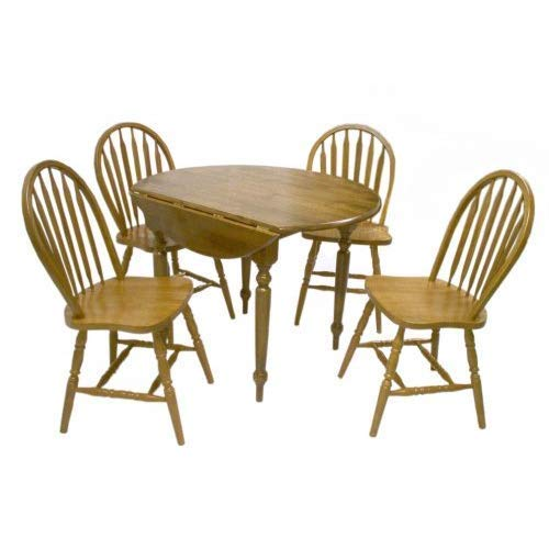 Target Marketing Systems 5 Piece Drop Leaf Dining Set with 4 Spindle Back Chairs and 1 Drop Leaf Table, Oak by Target Marketing Systems