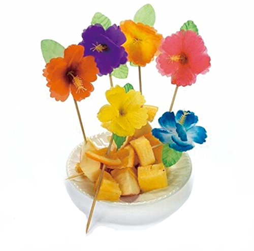 Flowers Relish - BOSHENG Lot of 144 Cute Flower Snack Cocktail Food Picks Appetizer Bamaboo Sticks
