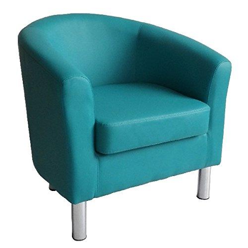 Designer Leder Tub Stuhl Sessel für Esszimmer Wohnzimmer Büro Empfang 66 x 68 x 72 cm aqua blue