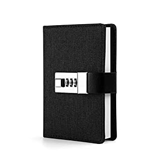 Lock Diary Planner Organizer Lock Journal Travel Diary a7 Mini Pocket Notebook Black