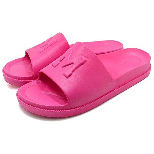 Antideslizante ducha de baño de verano ducha piscina pantuflas de playa para mujer KENROLL pantuflas planas flip-flop para hombres Rosa roja (Mujer)