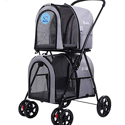 YZMKD Pet Stroller Carrier -Double-Decker Folding Four-Wheeled Pet Dog Pram Pet Carriers Pet Trolley Cat and Dog Cart,Load Within 10Kg,Gray,A