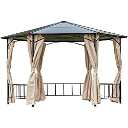Outsunny 13' x 13' Outdoor Steel Framed Hardtop Hexagon Gazebo Shelter with Removable Side Curtains