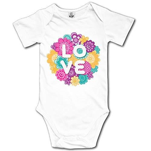 (V5DGFJH.B Baby Toddler Climbing BodysuitFlower LoveClimbing Short-Sleeve Onesie)
