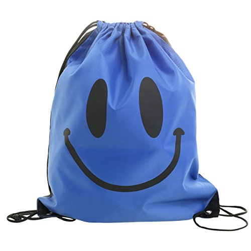 WEHOPS® Unisex Swim Sports Drawstring Bags Gym Backpack for Adults and Kids Smile Blue