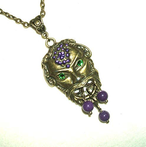 BACCHUS WINE GOD NECKLACE GREEK MYTHOLOGY DIONYSUS FIGURAL Pendant Crystal Eyes
