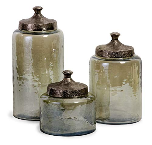 IMAX Corporation Round Green Luster Canisters (Set of 3) from Imax