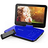 "Portable DVD Player 9"" with 5 Hours Rechargeable Battery by SPACEKEY, Swivel Screen, Support USB/SD Slot and 1.8M Car Charger, Support Memory and Region Free (Blue)"