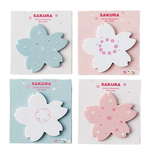 ERCENTURY Sakura Sticky Notes in 4 Different Sakura Designs (30 Sheets per Shape, 120 Sheets in Total)