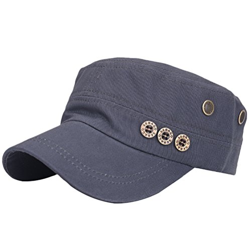 ab2e0de1c2a1f MatchLife Unisex Flat Top Cadet Cap Washed Cotton Twill Distressed Military  Corps Hat Solid Peaked Cap