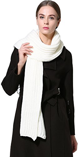 Women Men Winter Thick Cable Knit Wrap Chunky Warm Scarf All Colors White Hor