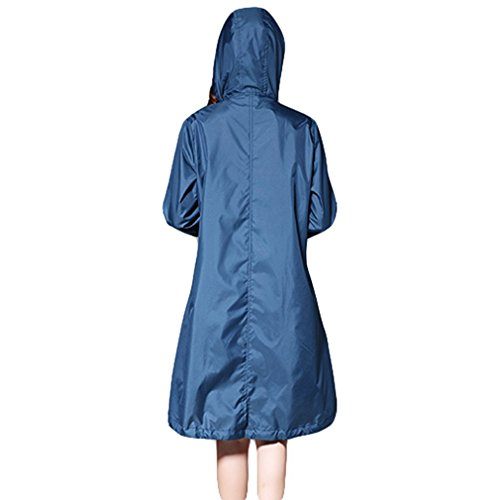Capa con Libre Azul Verde Capucha Impermeable Aire Larga Transpirable Impermeables Chaqueta al Poncho Impermeable Mujeres Lluvia Juleya de Lluvia Zqtgzn